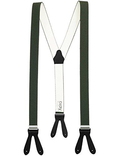 Xeira  Hochwertige Hosenträger reg; in Uni & Neon Farben mit Lederriemen - Verfügbar in XXXL 150cm Länge - Made in Germany (Normale Länge, Dunkel Grün/Schwaz)
