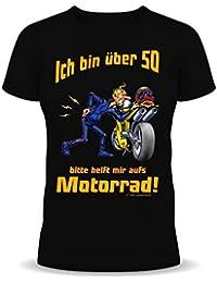 Witzige Geburtstag Sprüche Fun Tshirt! Ich über 50! Bitte helft mir aufs Motorrad! - T-Shirt in Schwarz mit Gratis Urkunde!