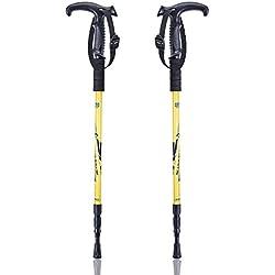 Bastones de trekking ajustable Antishock - datechip ultraligero bastones de Senderismo Bastones de trekking (aluminio T Tipo, amarillo)
