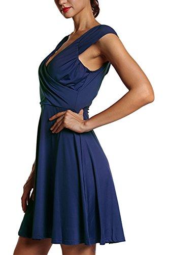 Tiefer V-Ausschnitt-Fit/Frauen- und Flare-Skater-Kleid Blue