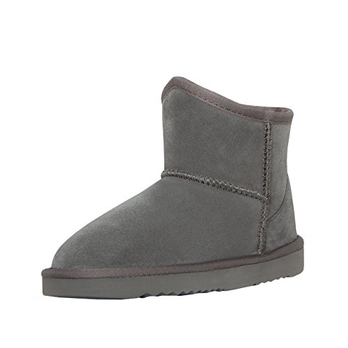 SKUTARI Kinder Leder Boots Button - Mini Winterstiefel, Gefüttert, Diamant (35, Grau/5041) (Kinder Winterstiefel Wildleder Fell)