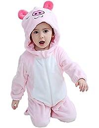 LSERVER Unisexe Bébé Combinaison Barboteuse Flanelle Costume Pyjama Animal  Déguisement ... e8a00e39c91