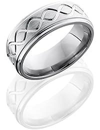Titanium, Talline Engraved Satin Wedding Band Polished Edge (sz H to Z1)