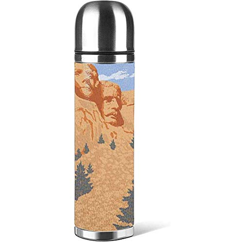 Mt Rushmore National Park, South Dakota Kaffeetassen mit Deckel Wasserflaschenbecher 3D-Bedruckte, rutschfeste Thermosbecher aus Leder