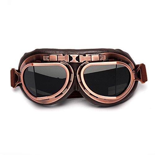 LEAGUE&CO LEAGUE&CO Retrodesign Motorradbrille Pilotenbrille Schutzbrille Fliegerbrille Helm Brillen (Grau)