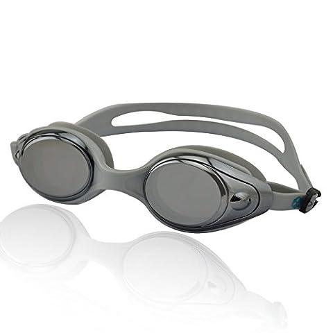 »Snake« Schwimmbrille / 100% UV-Schutz + Antibeschlag / Starkes Silikonband + stabile Box / AF-600m / grau