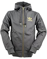 Adidas originals grey men's cotton blend unlined full zip hooded jacket