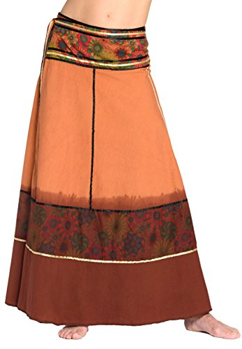 Falda Cruzada teñida al Batik - Falda Unisex de la India, 92 de Largo, con Lazos, marrón Claro