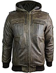 Veste homme cuir véritable avec capuche marron coupe ceintrée look vintage rétro