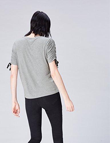 FIND Damen T-Shirt mit Raffungen Grau (Grey Marl/black Ties)