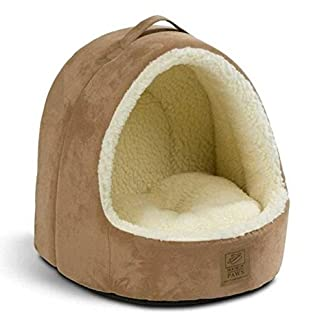 House of Paws Hooded Tan Suede/Sheepskin Cat Bed (PACK OF 2) 11