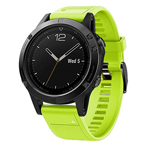 Waotier für Garmin Fenix 5 Quickfit Armband TPU Silikon Armband Kompatibel für Garmin Fenix 5S Fenix 5S Plus Sport mit Schwarz Verschluss Ersatzarmband für Männer Damen (Hellgrün)