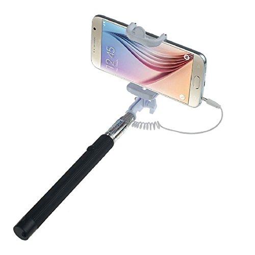 ARTLU® Selfie-Stange Selfie-Stick Teleskop-Stange Selfie Stick in 9 verschiedenen Farben Monopod Selfie Einbeinstativ Ausziehbare Stick (Nein Bluetooth) mit Einstellbaren Klemme für Smartphones, iPhone, Samsung, Huawei, LG, Sony--schwarz