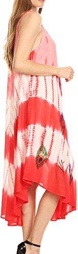 Sakkas plume de paon Caftan Robe / Cover Up Corail