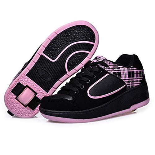 LHWAN Jungen Mädchen Rollschuhschuhe,Einzelnes Rad Einziehbares Rad Outdoor Cross Trainer Technisches Skateboard Sneaker Unisex-Skates,Pink,31EU
