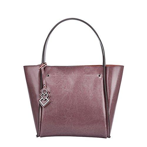 E-Girl Q0828 Damen Leder Handtaschen Satchel Tote Taschen Schultertaschen Violett