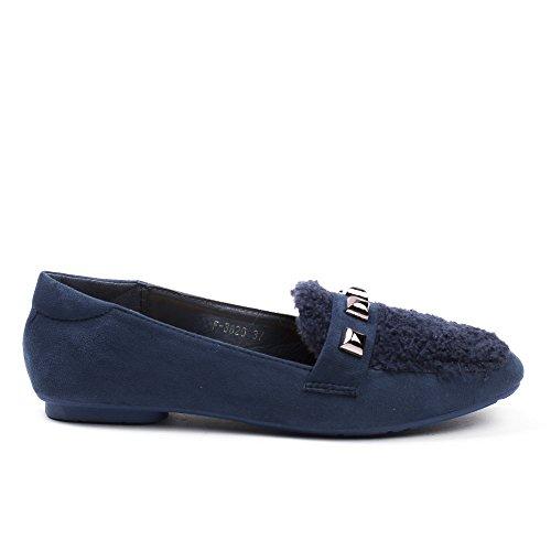 Ideal Shoes Slippers BI-Matière avec Strass Gabriele Bleu