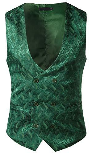 Herren Steampunk Muster Kostüm - WHATLEES Herren Enge Anzugweste aus Jacquard Smoking mit glitzerndem Paisley Muster BA0135-green-L