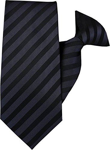 John Henry JH-1004 Krawatte, zum Anstecken, Schwarz und Dunkelgrau gestreift
