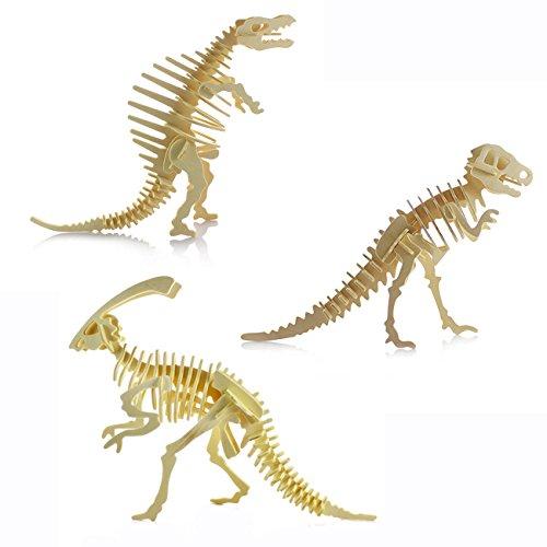 3D rompecabezas de madera-Puzzle 3D dinosaurio niños de juguetes rompecabezas de madera DIY
