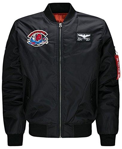 YYZYY Herren Classic Gefechtsabzeichen Bomberjacke Air Force Patches Bomber Jacken Mäntel 16 Colour XS-4XL Mens Military Jacket (EU/DE...