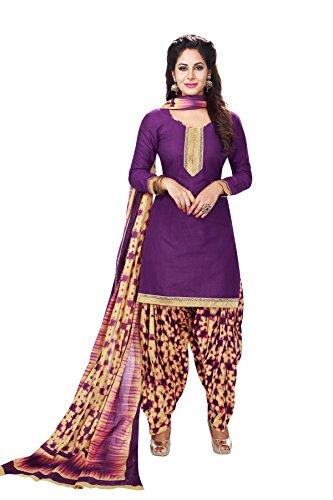 CELEBRATION PATIALA SALWAR KAMEEZ DRESS MATERIAL-Purple-BAALAR717-VM-Cotton
