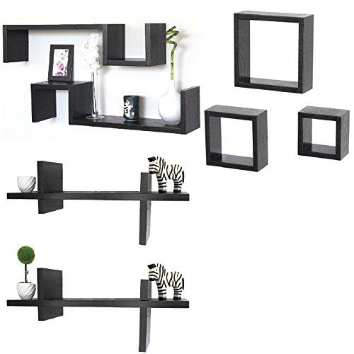 Lot de 7 étagères cubes design bois marron foncé wengé Étagère ESSE 3C CROSSING