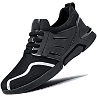 Inklenzo Men's White Walking Shoes Lightweight Elastic Sock Athletic Running Shoe Lace up Mesh Sneakers Comfort Work Shoes