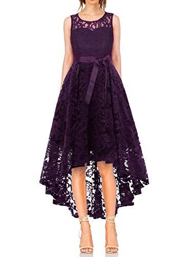 MONYRAY Damen Elegant Schwingendes Kleid aus Spitzen Asymmetrisch Ärmellos Unregelmässig Abendkleider Festlich Cocktailkleider Ballkleid Pinup Rockabilly Party Brautjungfern Kleid Grape L