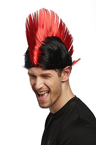 WIG ME UP ® - Perücke Karneval Fasching Iro Irokese Mohawk Punk rot schwarz Anarchie (Perücke Punk Schwarze)