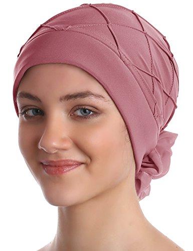 Diamant-Muster Mutze für Haarverlust, Krebs, Chemo (Puderrosa)