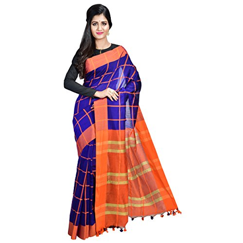 Crafts And Looms Women's Self Design Woven Checkered Printed Embellished Sarees   Sarees...