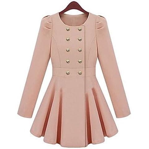 PU&PU pinklady dolce doppio petto piega altalena guaina lungo cappotto