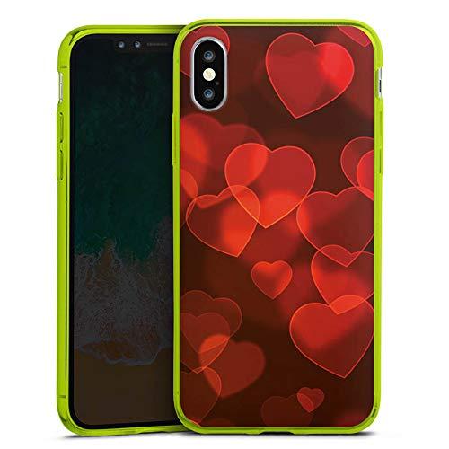 DeinDesign Apple iPhone XS Slim Case transparent neon grün Silikon Hülle Schutzhülle Verblasste Herz Muster Pattern -