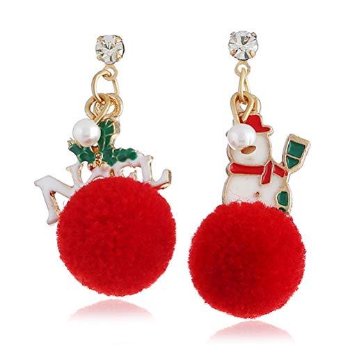 HKEPS Ohrringe Weihnachtsmann Schneeflocke asymmetrisch Ohrringe, tolles Geschenk für Damen