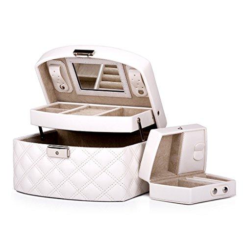 hen Muttertagsgeschenk Jewelry Box Mädchen Schmuck Organizer Gespiegelt Mini Travel Case Abschließbar Leder 9 Zoll Schmuck Box Ring Box Aufbewahrungsbox Multifunktions-Box Tragbaren ()
