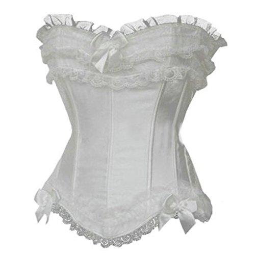 Corsage Korsett Hochzeit Satinkorsett Standesamt Rüschen Brokat NEU (EUR(36-38)L, Weiß) (Weiße Rüschen Korsett)