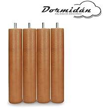Dormidán - Patas redondas de madera, (6 unidades)  métrica 10 para somier o
