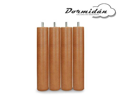 Dormidán - Patas redondas de madera, ( 6 unidades ) métrica 10 para somier o base tapizada color … (Cerezo)