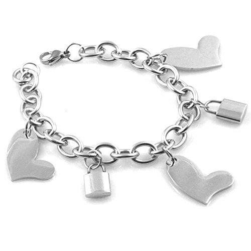 bracciale donna in acciaio gioiello con ciondoli cuori e lucchetti catenacci cm 19