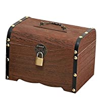 BRLIUK Vintage Piggy Bank Handmade Wooden Money Bank Coin Storage Boxes Retro Treasure Box Money Saving Boxes with Lock and Keys Gifts for Kids & Adult