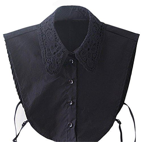 Frauen-Dame Abnehmbare Arbeits Spitze-Art Hälfte-Hemd-Bluse-Fälschungs-Kragen Schwarz (Befestigt Bluse)