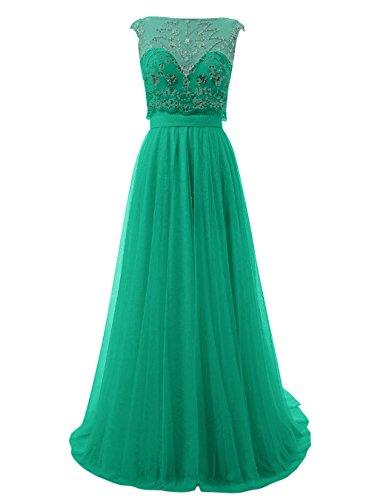 Dresstells, Robe de cérémonie Robe de soirée en tulle forme princesse dos nu traîne moyenne emperlée Vert
