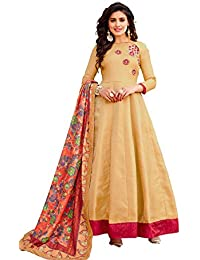 AnK Women's Cream Banglori & Georgette EmbroideredLong Semi-Stitched Salwar Suit With Printed Dupatta