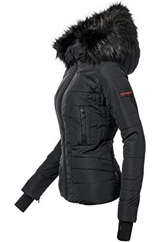 Navahoo Damen Winter Jacke Steppjacke Adele Schwarz Gr. M (Mantel Wasserdicht Winter Damen)