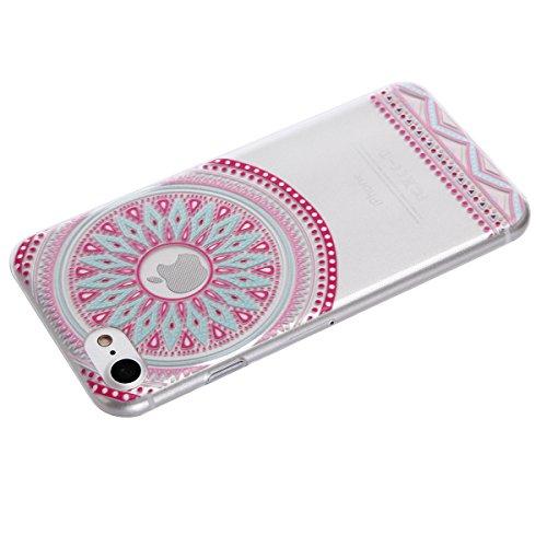 Voguecase® Pour Apple iPhone 7 Plus, TPU avec Absorption de Choc, Etui Silicone Souple, Légère / Ajustement Parfait Coque Shell Housse Cover pour Apple iPhone 7 Plus (fleur bleue 06)+ Gratuit stylet l cercle pink