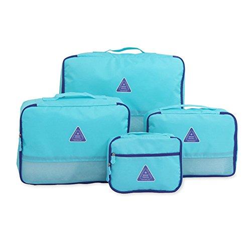 4 Sets Reiseveranstalter Verpackungswürfel, Tragbar Gepäck Toilettenartikel Wäsche Lagerung Taschen Koffer Veranstalter Beste Urlaub Reisetaschen (Grün) Blau