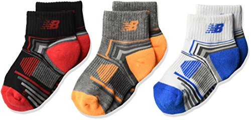 New Balance Jungen Performance Quarter 3Pack Socken, Jungen, Black/Red/White/Blue/Grey/Orange, Size 5.5-9 (Balance Shorts New Athletic)
