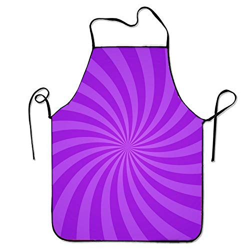 Fs2A1X Swirling Radial Purple Pattern Sweetheart Chef Kitchen Apron Stitched Edges -