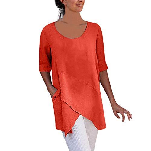 Damen Leinen Tunika Tasche t-Shirt Frauen Cross Design Halbarm Freizeit Strand Bluse Lose T-Shirt Tops Baumwolle Oberteile Tops Sexy Cross Design Halbarm Baumwolle und Leinen Bluse Mode T-Shirt -